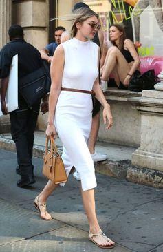 How to Imitate Gigi Hadid's Street Style: Throw A Skinny Belt On It