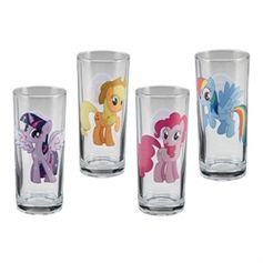 Adorable 4 pc. My Little Pony glass set