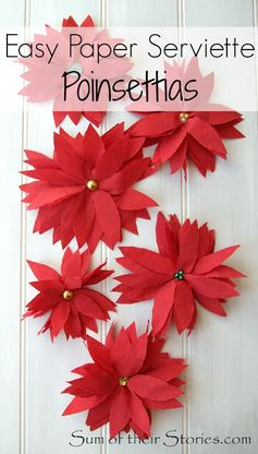 Easy paper serviette Poinsettias