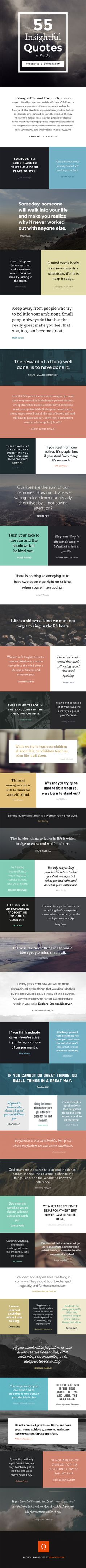 55 insightful quotes to live by, presented on an infographic.