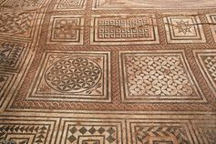 Geometrical motifs around the Medusa's mosaic visible in the Museum of fine arts and Archaeology, Besancon, France, 200AC