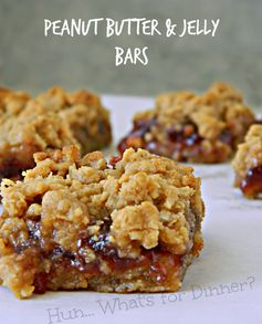 Hun... What's for Dinner? | Peanut Butter & Jelly Bars- These soft and chewy oatmeal peanut butter bars, have a gooey sweet layer of strawbe...