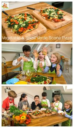 Vegetable & Salsa Verde Scone Pizza - Cooking with kids.  Getting your kids in the kitchen and cooking is a great way to encourage them to try new foods