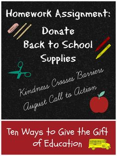 The Good Long Road: {Kindness Crosses Barriers} Call to Action: Donate Back to School Supplies #BackToSchool #give