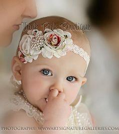 Headband flower headband baby headband shabby by ThinkPinkBows,