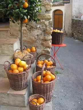 Oranges on the streets in Provence, France