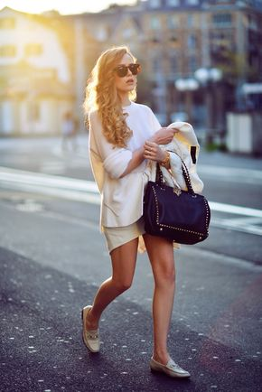 Street Style, May 2014 - Kayture Is Wearing All White, Shoes From Gucci, Knit Jumper From Paper Denim & Cloth And Valntino Bag