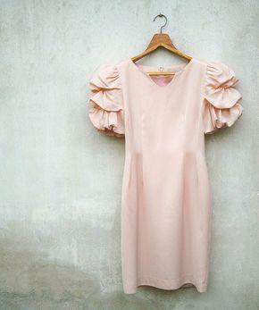 Vintage Romantic Pink Volumize Draped Puff Sleeve Dress - sleeves <3