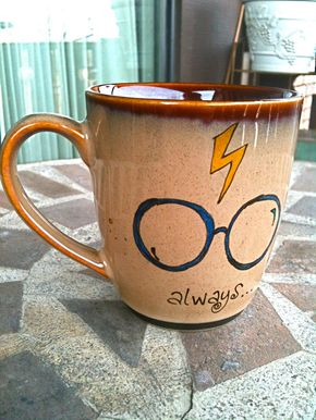 "The Original Always Mug: Small Antique Brown ""Always"" Harry Potter Owl Mug - Hand Painted with lightning bolt and glasses - HARRY POTTER"