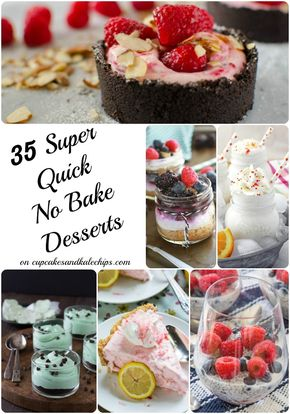 35 Super Quick No Bake Dessert Recipes - 35 Super Quick No Bake Dessert Recipes - puddings, parfaits, cookies, pies, bars and more desserts with NO OVEN REQUIRED! Perfect for summer! | cupcakesandkalechips.com