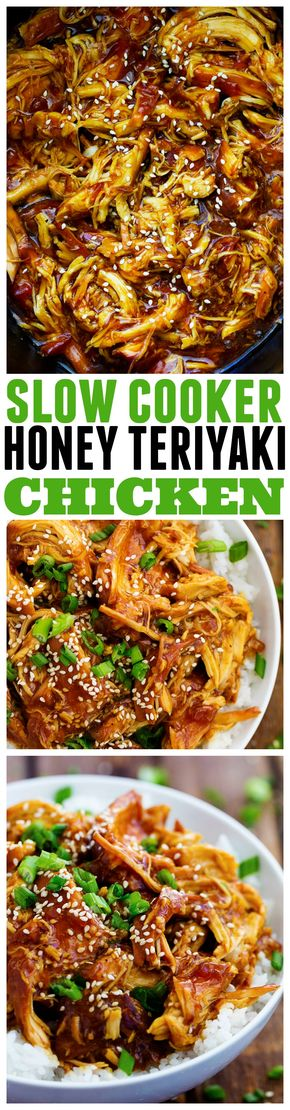 Slow Cooker Honey Teriyaki Chicken - This slow cooker honey teriyaki chicken will be the BEST thing that you make!! The honey teriyaki sauce is out of this world!