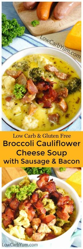 Broccoli Cauliflower Cheese Soup with Sausage - A hearty broccoli cauliflower cheese soup loaded with chunky add ins. Using a few varieties of sausage as well as bacon really ups the flavor!