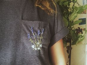 Embroidered Lavender Bouquet Pocket T Shirt - ●●pin @leahlunt ☼ ☾︎︎