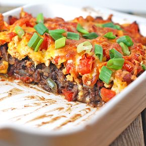 Southwest Black Bean Casserole - beans aren't the most low carb, but we could do something like this with more veggies