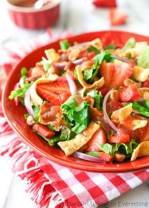 Strawberry Wonton Spinach Salad - Strawberry Wonton Spinach Salad | The Girl Who Ate Everything