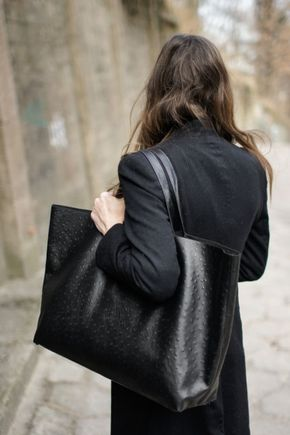 Black tote and black coat