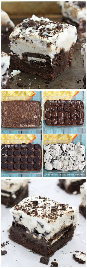 Brownie Oreo Ice Cream Bars - Brownie-bottomed, oreo-topped, hot-fudge smothered, ice cream-covered dessert bars. #dessert #brownie #oreo