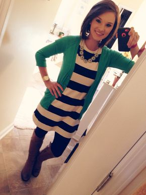Black and white striped dress, emerald cardi, black tights, brown boots