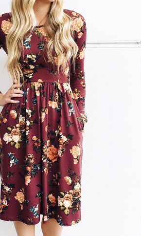 Burgundy Bloom Dress *RESTOCKED - Fall Florals | ROOLEE