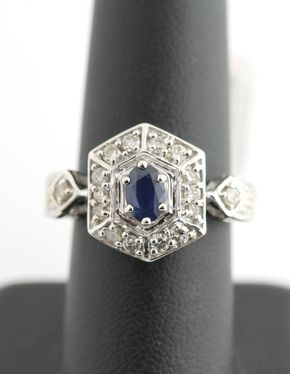 14K White Gold 1/2 Carat Diamond & 1/2 CT Sapphire Cluster Ring Vintage - 14K White Gold 1/2 Carat Diamond & 1/2 CT Sapphire Cluster Ring Vintage