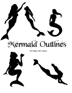 Mermaid Outline Patterns Applique Instant Digital Download - I am getting a mermaid tattoo!!