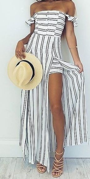 50 Popular And Trending Summer Outfits Of Showpo Label - Stripe Maxi Playsuit                                                                             Source