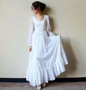 70s Gunne Sax Boho Wedding Dress - Fall hippie wedding maxi, blue & white floral print cotton voile Bridal Gown, simple prairie style - <3