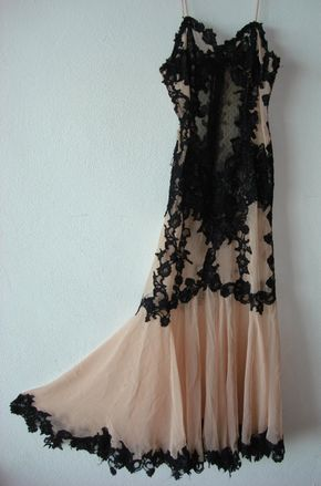 Vintage evening gown,black lace and skin color fabric.Couture - evening gown
