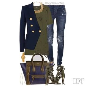 Navy ⚓️ Blazer/Tee/Jeans All #balmain Shoes/ #monikachiang @monika_chiang  Bag/ #celine Watch/ #rolex  Tap for details. #fashion #fashionblogger #blogger #fashionstylist #stylist #wardrobestylist #fashiondaily #instadaily #instafashion #womenswear #luxury #celebritystyle #celebrityfashion #chic #edgy #highfashionfiles #style