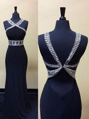 2017 New Black Sequins Open Back Lo - Long prom dress, ball gown, 2017 New dark blue chffon sequins evening dress