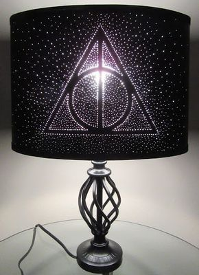 Harry Potter Deathly Hallows Pin Hole Lamp Shade - Harry Potter Deathly Hallows Pin Hole Lamp by GeekYourInterest