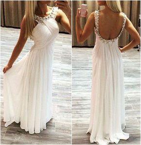 Long Prom Dress, White Prom Dress - Long prom dress, white prom dress, simple prom dress