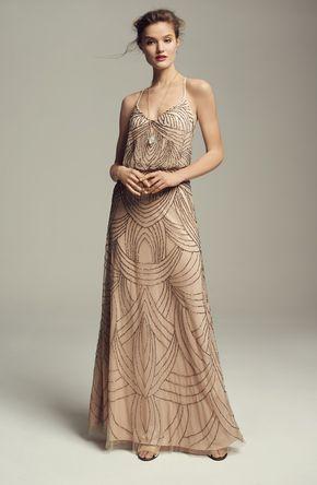 Beaded Chiffon Blouson Gown - Dress
