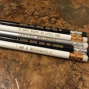 Book Lover quote Pencil set - Bibliophile (Set of 5) - Book Lover quote Pencil set - Bibliophile (Set of 5)