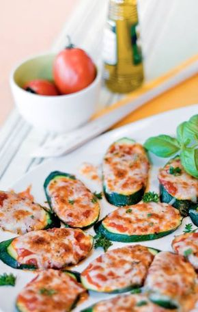 """CLICK PIC  2x for Recipe....  ...Pizza Stuffed Zucchini Bites... ...Recipe by George Stella... ...For tons more Low Carb recipes visit us at """"Low Carbing Among Friends"""" on Facebook"""