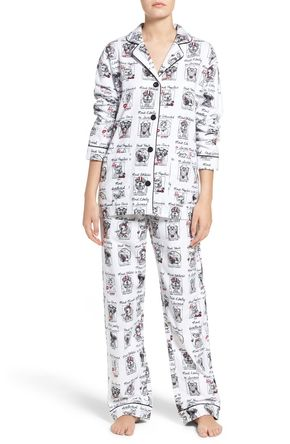 Print Flannel Pajamas - Cute prints amplify the playful charm of this cozy cotton flannel PJ set that pairs a classic notch-collar top with matching relaxed-fit pants.