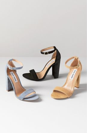 'Carrson' Sandal (Women) - Modern and minimalist, these essential ankle-strap sandals from Steve Madden are set on a chunky heel and serve as a versatile go-to style.