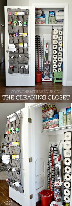 Cleaning Tips - DIY Cleaning Closet - Cleaning Tips - The Cleaning Closet at the36thavenue.com Pin it now and clean it later!