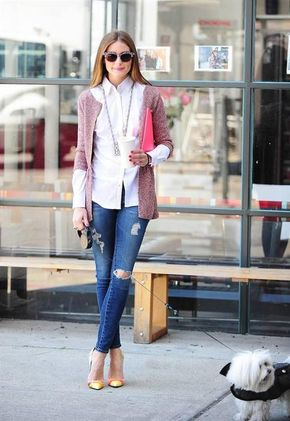 Olivia Palermo street style - loving the white shirt, cardigan and ripped jeans - the shoes are pretty cool too!