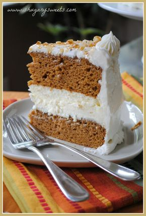 Pumpkin Cheesecake Cake - Pumpkin Cheesecake Cake - Two layers of delicious pumpkin cake with a creamy cheesecake center. Frosted with cream cheese frosting!