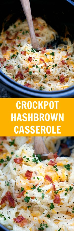 Crockpot Hashbrown Casserole (NO cream of soups) - Simple Slow Cooker Hashbrown Casserole. Easy and healthier -- NO cream of soups!