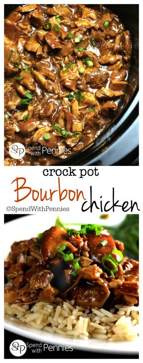 Crock Pot Bourbon Chicken - This delicious Bourbon Chicken recipe is one of our favorites! This is great to come home to on a chilly day and is perfect served over rice!