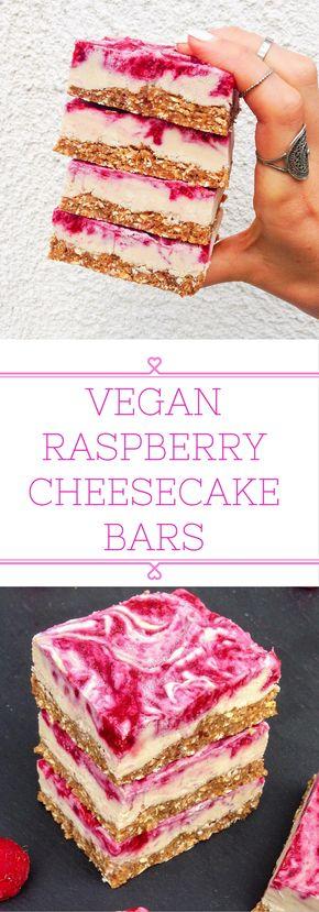 Vegan Raspberry Cheesecake Bars - Vegan raspberry cheesecake bars that can be stored in the fridge for weeks! Simple and healthy ingredients. | choosingchia.com