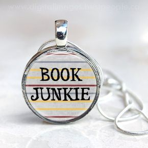 BOOK JUNKIE Silver 1 inch Round Glass Pendant with Silver Chain, Reader Necklace, Book Lover Gift, Librarian, Teacher Gift - Book Junkie pendant