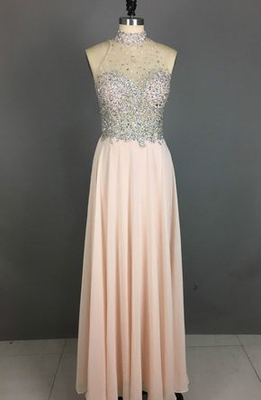High Neck Long Chiffon Prom Dresses - High Neck Long Chiffon Prom Dresses Crystals beaded Floor Length Party Dresses…