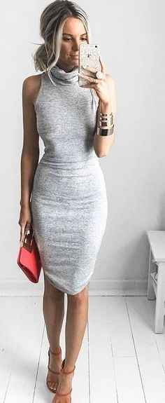 35 Trending Outfit Ideas For Update Your Summer Lookbook - Roll Neck Little Grey Dress                                                                             Source