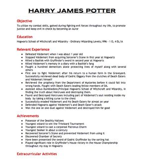 Harry Potter's Resumé To Join The Aurors - Harry Potter's Resume.