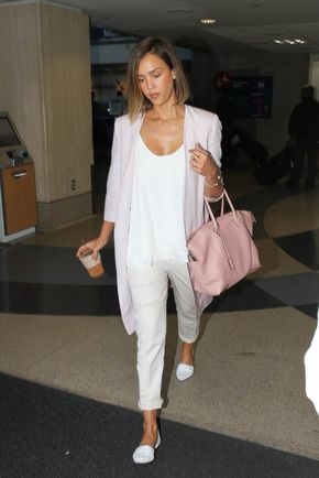 42 Times Jessica Alba's Outfit Was No Match For a Long Plane Ride - Jessica Alba totally nailed the stylish but comfortable but chic but effortless airport look, and we love it.