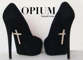 Sinner pumps - Goth: #Goth heels, by OPIUMBrand. If I was ever required to wear 5+ inch heels.. these would be it.