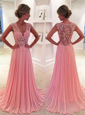 Classic A-Line V-Neck SweepTrain Pink Prom Dress/Evening Dress with Appliques - Buy Classic A-Line V-Neck Floor Length Pink Prom Dress/Evening Dress with Appliques 2016 Prom Dresses under US$ 147.99 only in SimpleDress.